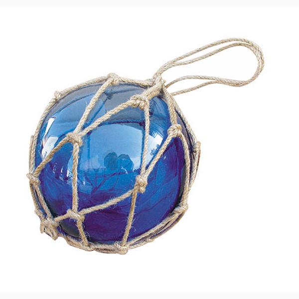 Fischer-Kugel, blau, Glas mit Netz, Ø: 12,5cm