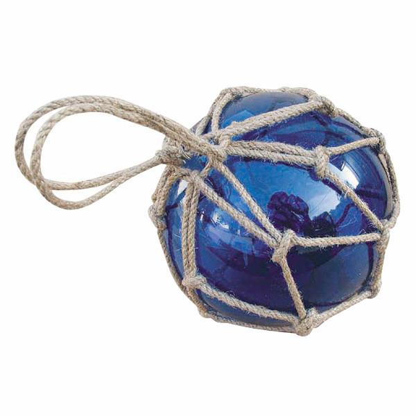 Fischer-Kugel, blau, Glas mit Netz, Ø: 15cm