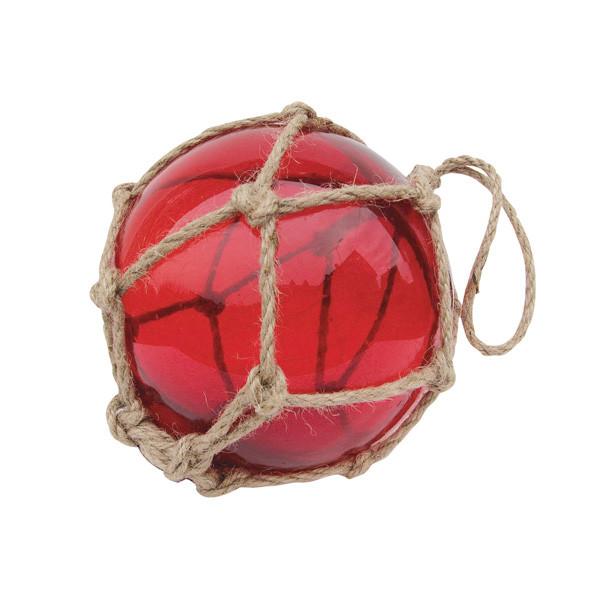 Fischer-Kugel, rot, Glas mit Netz, Ø: 15cm