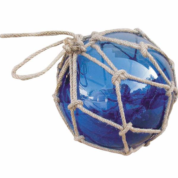 Fischer-Kugel, blau, Glas mit Netz, Ø: 17,5cm