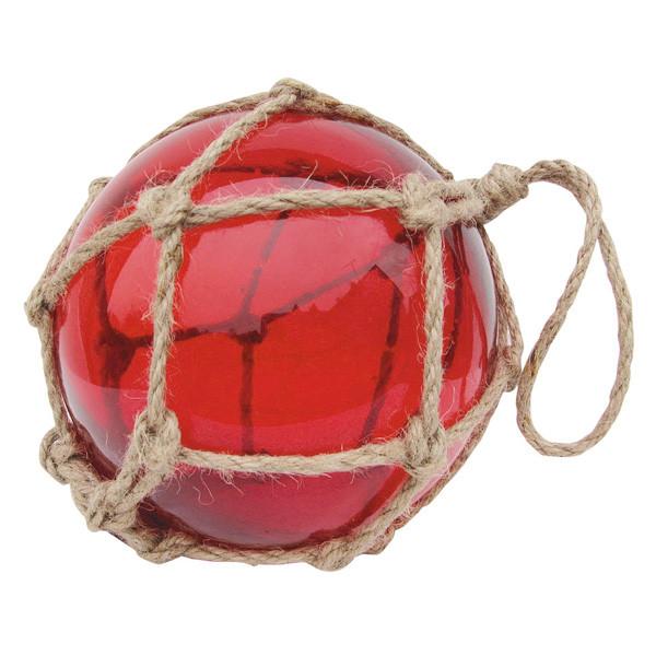 Fischer-Kugel, rot, Glas mit Netz, Ø: 17,5cm