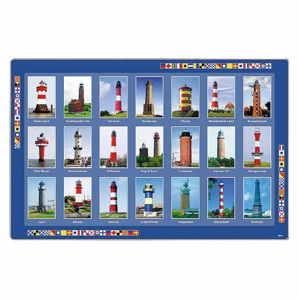 Platz-Untersetzer, deutsche Leuchttürme, Plastik, 43x29cm