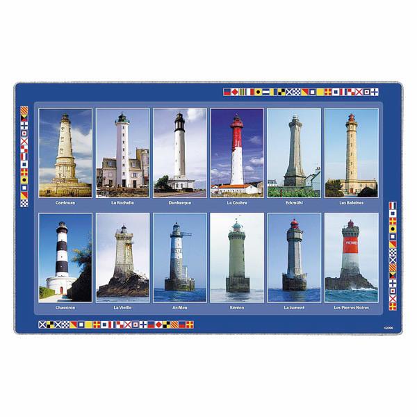 Platz-Untersetzer, französische Leuchttürme, Plastik, 43x29cm