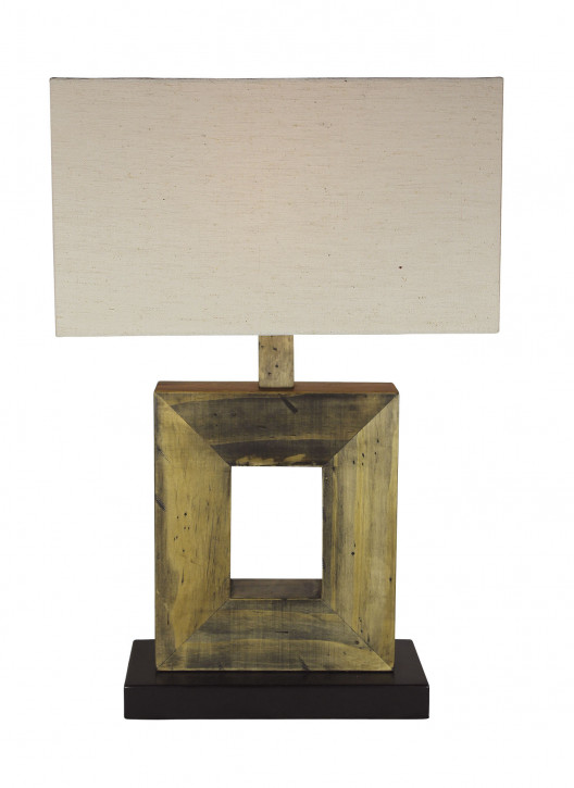 Lampe mit Schirm, Holz, elektrisch 230V, E27, 60W, H: 52cm, 35x18cm