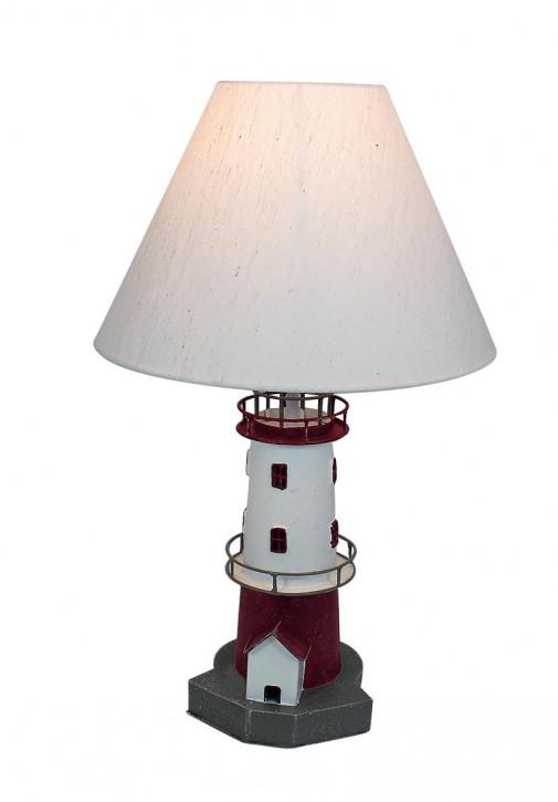 Leuchtturm-Lampe, Metall, rot/weiß, H: 48cm, Ø: 15/30cm