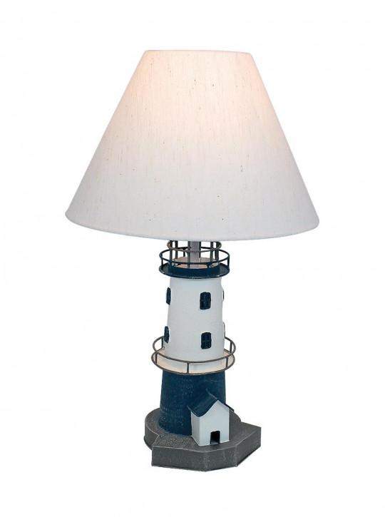 Leuchtturm-Lampe, Metall, blau/weiß, H: 48cm, Ø: 15/30cm