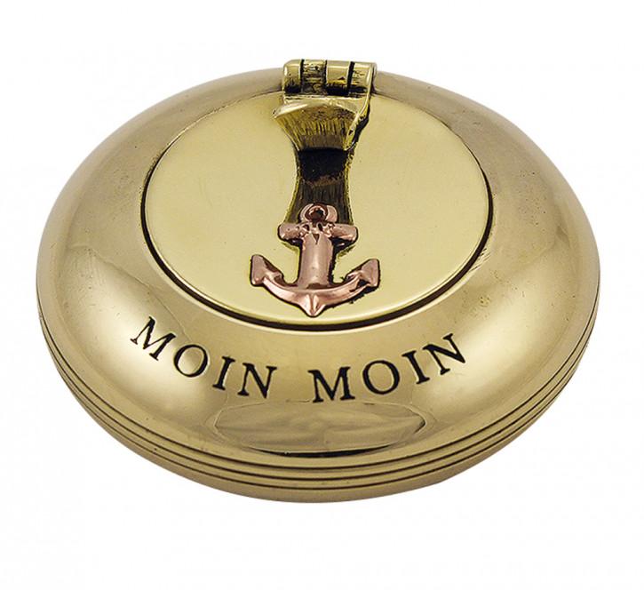 Klappaschenbecher, glatt, Messing, Ø: 6cm - mit Prägung MOIN MOIN