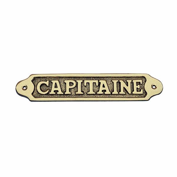 Türschild - CAPITAINE, Messing, 19x3,5cm