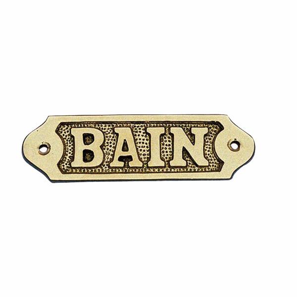 Türschild - BAIN, Messing, 11x3,5cm