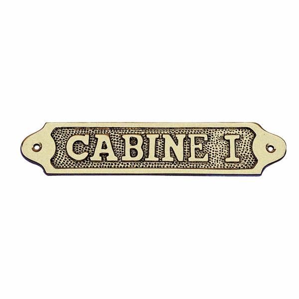 Türschild - CABINE I, Messing, 18,5x3,5cm