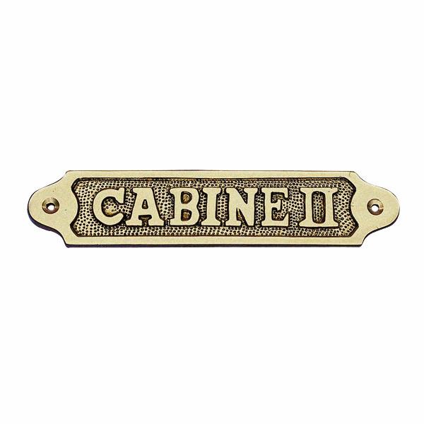 Türschild - CABINE II, Messing, 18,5x3,5cm