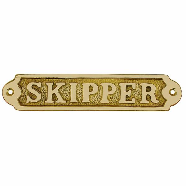 Türschild - SKIPPER, Messing, 17x3,5cm