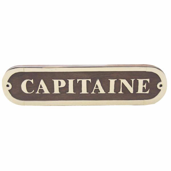 Türschild - CAPITAINE, Holz/Messing, 20x5cm