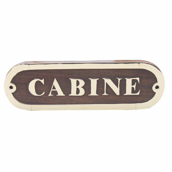 Türschild - CABINE, Holz/Messing, 16,5x5cm