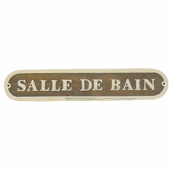 Türschild - SALLE DE BAIN, Holz/Messing, 27x5cm