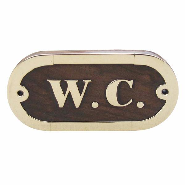 Türschild - W.C., Holz/Messing, 10,5x5cm