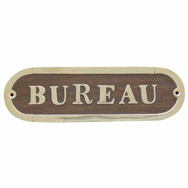 Türschild - BUREAU, Holz/Messing, 17x5cm