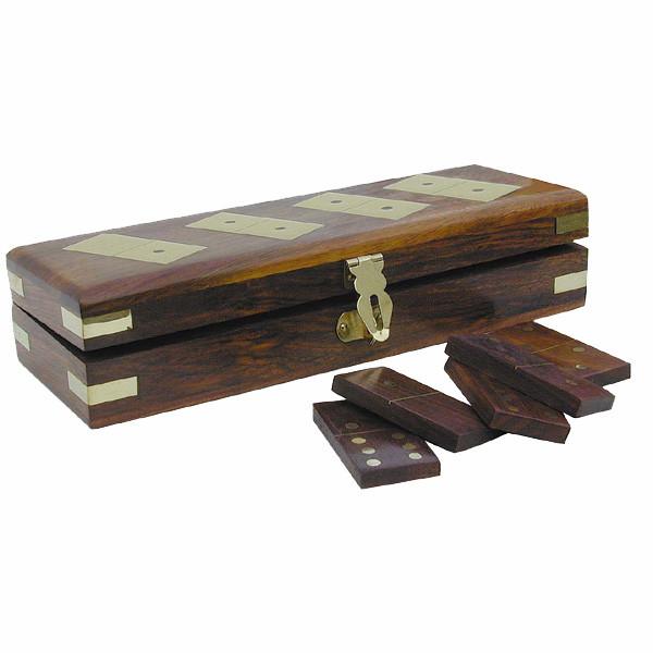 Domino-Spiel, Holz/Messing, 28 Steine, 20,5x7x5cm