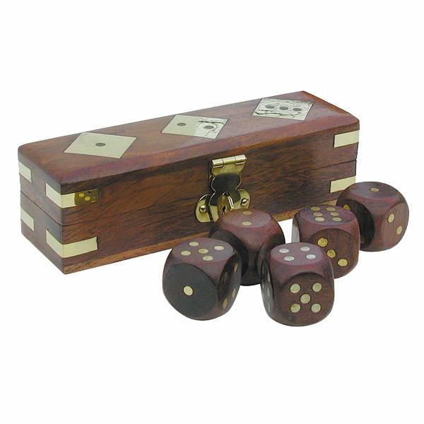Würfel-Spiel, 5 Würfel, Holz/Messing, 12,5x4x4cm