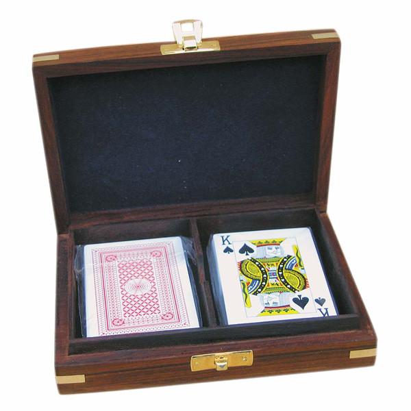 Spielkartenbox, Holz, inklusive doppeltes Kartenspiel, 15,5x11,5x4cm