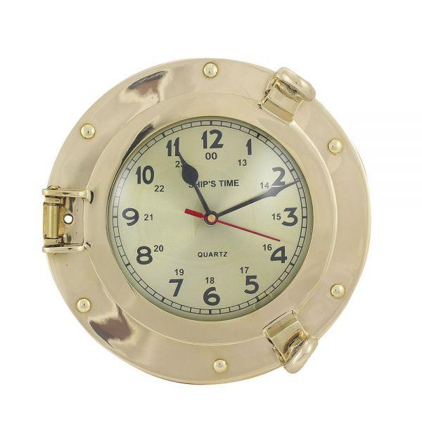 Uhr im Bullauge, Messing, Quartzwerk, Ø: 14/23cm