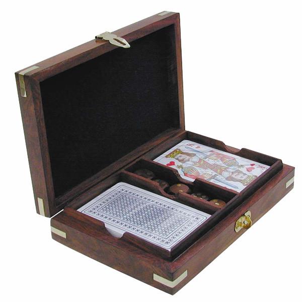 Karten-Würfel-Box, Holz, inklusive doppeltes Kartenspiel, 17,5x12x4cm