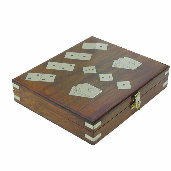 Domino/Würfel/Karten-Box, Holz, inklusive doppeltes Kartenspiel, 20x17x5cm