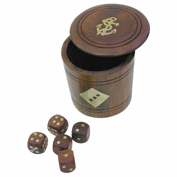 Würfel-Becher mit 5 Würfeln, Holz, H: 7,5cm, Ø: 6/7,5cm