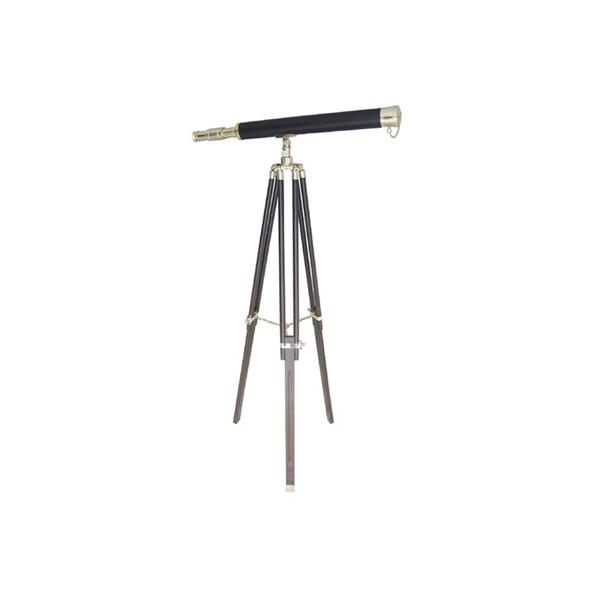 Stand-Teleskop, Messing mit Lederummantelung, L: 69cm, H: 130cm