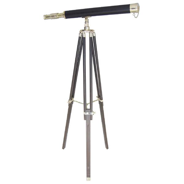 Stand-Teleskop, Messing mit Lederummantelung, L: 100cm, H: 160cm
