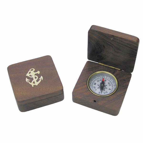 Kompaß in Holzklappbox eingearbeitet, 6,5x6,5x2,5cm