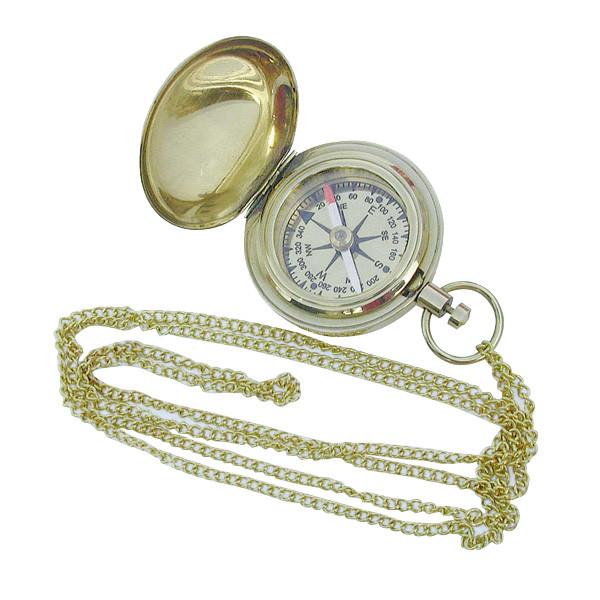 Kompaß in Taschenuhrform mit Kette, Messing, Ø: 5cm