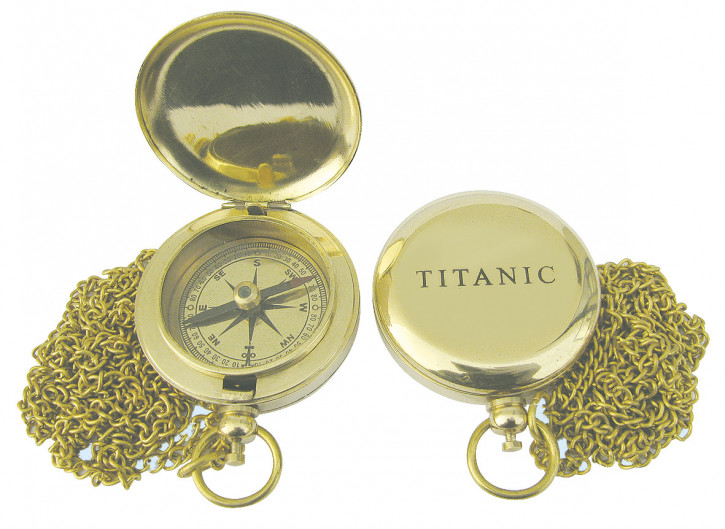 Kompaß in Taschenuhrform mit Kette, Messing, Ø: 5cm, mit Prägung TITANIC