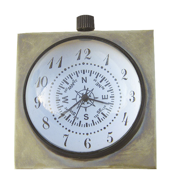 Kugel-Uhr, Quarzwerk, Messing antik, Ø: 5cm, 6x6x5cm