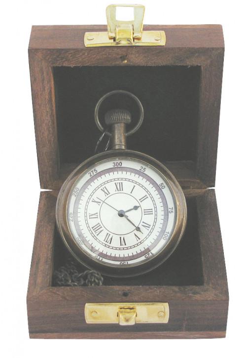 Taschenuhr mit Kette, Messing antik, Quarzwerk, Ø: 5,5cm, in der Holzbox
