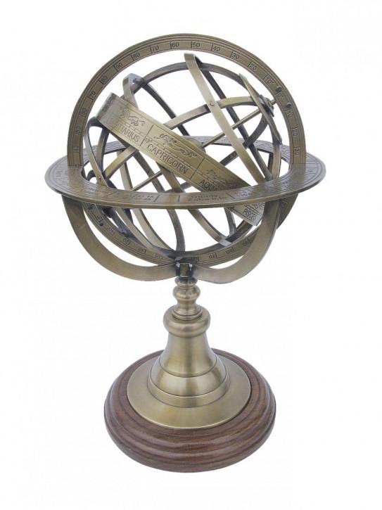 Armillarsphäre, Messing antik auf Holzsockel, H: 29cm, Ø: 18,5cm