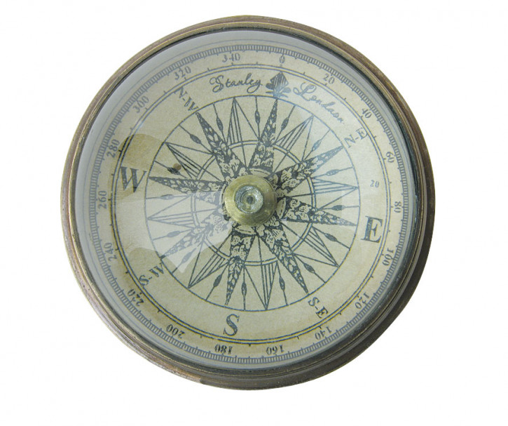 Kompass mit Domglas, Messing antik, Ø: 6cm, H: 3cm