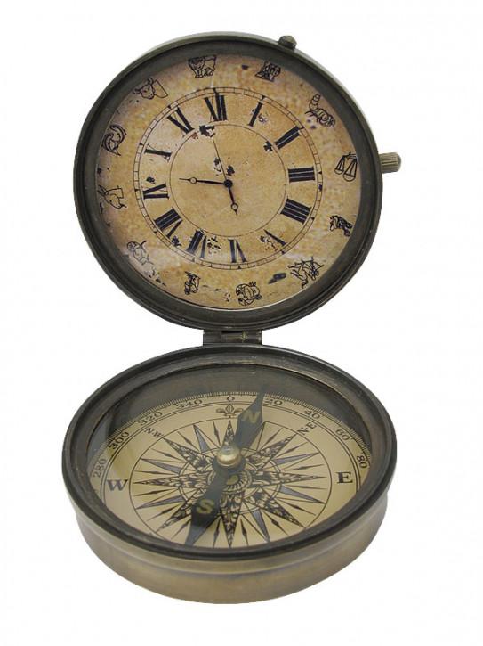 Kompass mit Uhr, Messing antik, Ø: 8,5cm, H: 3,5/10cm