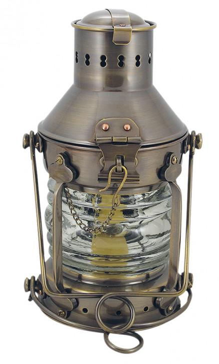 Ankerlampe, Messing antik, Petroleumbrenner, H: 24cm, Ø: 12cm