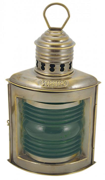 Steuerbordlampe, Messing antik, Petroleumbrenner, H: 23cm