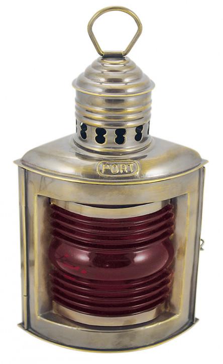 Backbordlampe, Messing antik, Petroleumbrenner, H: 23cm