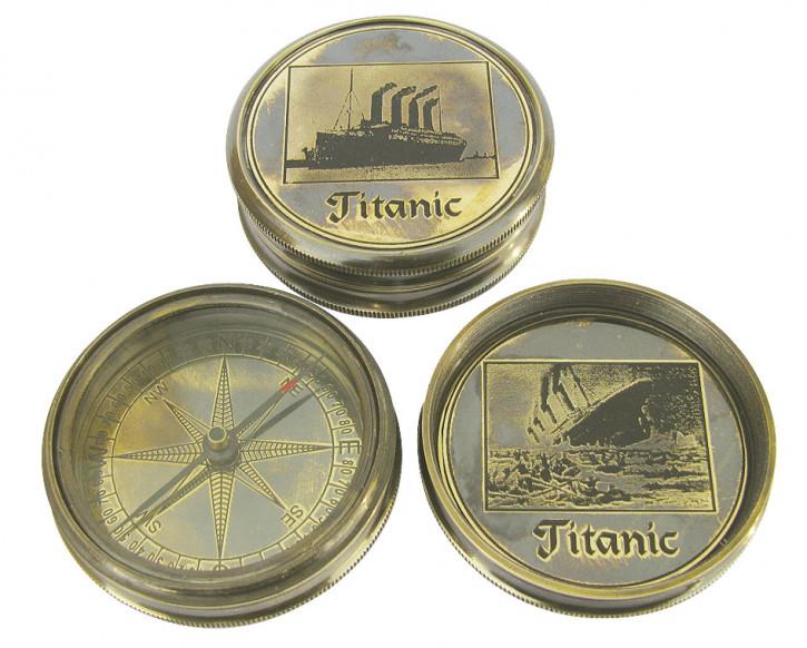 Schwerer Kompass, Messing antik, Ø: 6cm, mit Pägung TITANIC