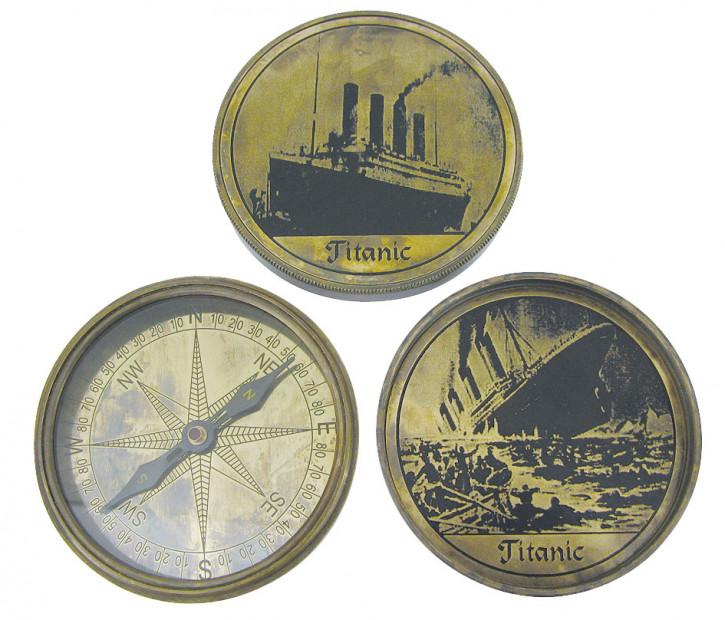 Schwerer Kompass, Messing antik, Ø: 8,5cm, mit Prägung TITANIC