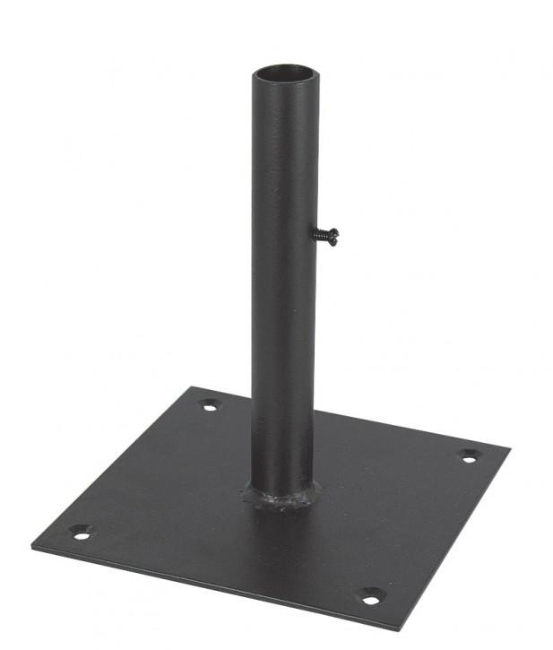 Standfuß für Wetterfahnen, Eisen scharz lackiert, H: 18cm, 15x15cm, Ø: 2,5cm
