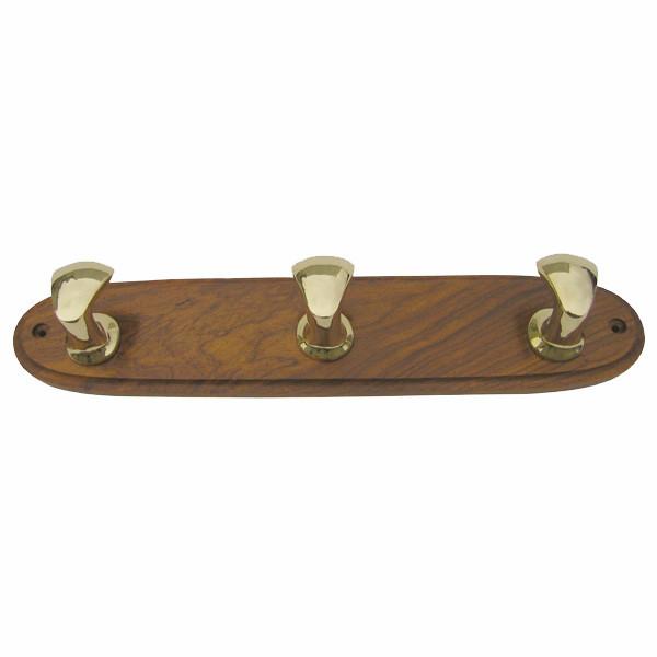 3 Poller-Kleiderhaken auf Holz, Messing/Holz, 38x7,5x5,5cm