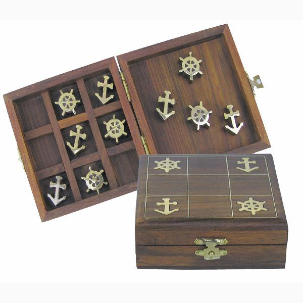 Spiel - Anker & Steuerrad, Holz/Messing, 10x10x3,5cm