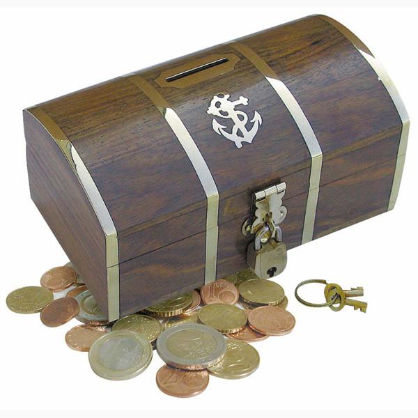 Spardose - Schatztruhe, mit Schloß & 2 Schlüsseln, Holz/Messing, 14x8x6,5cm