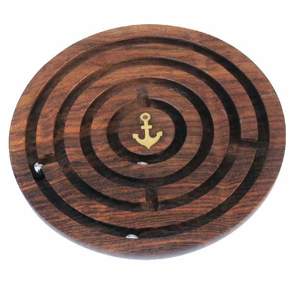 Labyrinth-Spiel, Holz, Ø: 15,5cm