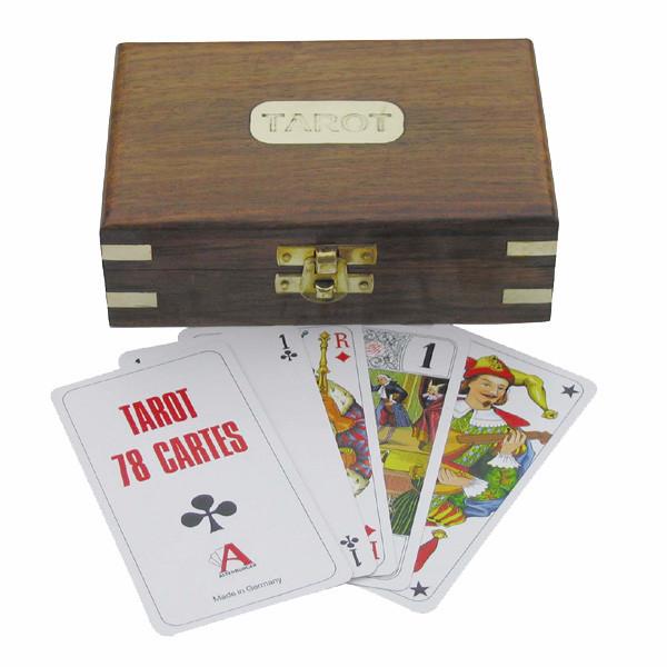 Tarot-Kartenspiel in der Holzbox, 14,5x9,5x4,5cm