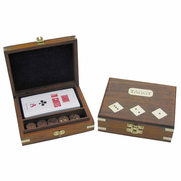 Tarot-Kartenspiel & Würfel in der Holzbox, 14,5x12x4,5cm